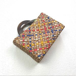 Handbags - Straw Tote Wooden Handles Multi Colored Ribbon
